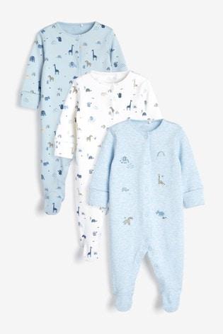 Blue Safari 3 Pack Embroidered Sleepsuits (0-2yrs)