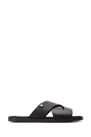 Base London® Black Alecco Waxy Emboss Sandals