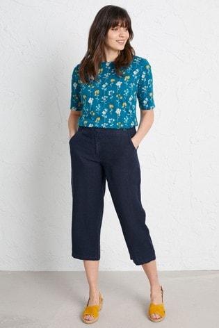 Seasalt Cornwall Petite Blue Brawn Point Cropped Trousers