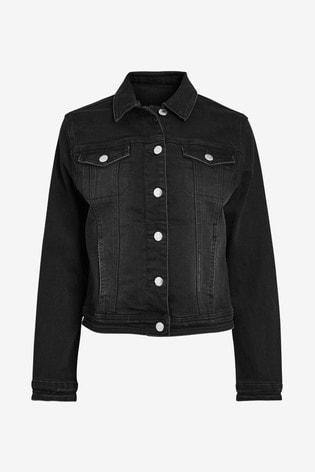 Black Zip Up Denim Jacket