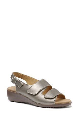 Hotter Pewter Easy Touch Fastening Open Sandals