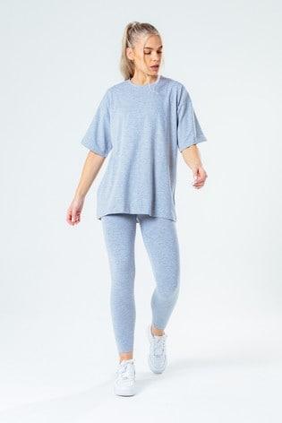 Hype. Women's Grey Oversized T-Shirt And Leggings Set
