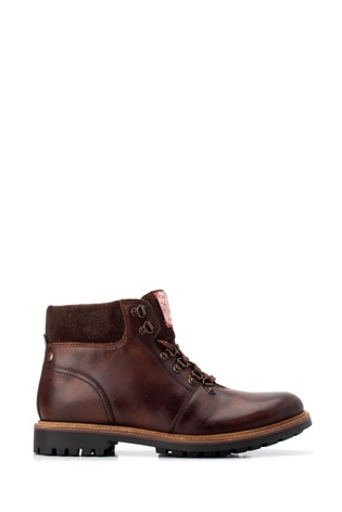 Base London® Brown Fawn Burnished Lace-Up Boots