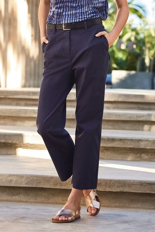 Navy Cropped Chino Trousers