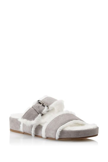 Dune London Grey Waverly Double Strap Slippers