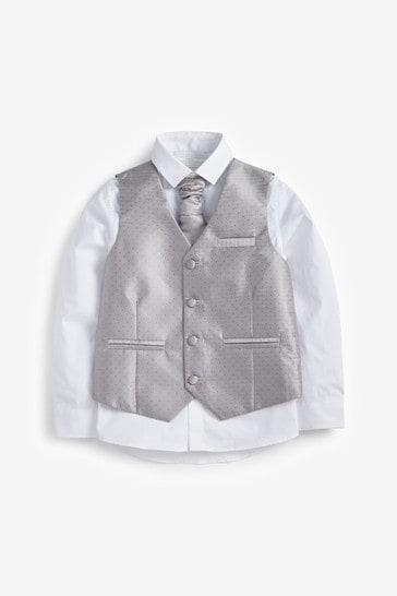Silver Wedding Waistcoat, Shirt And Tie Set (12mths-16yrs)