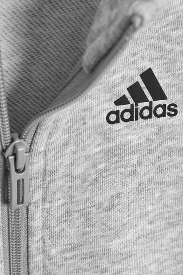 adidas Grey 3 Stripe Tracksuit