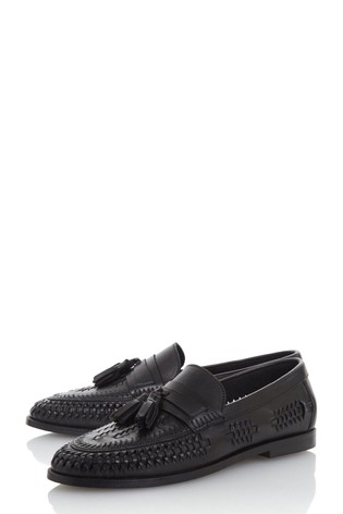 Dune London Burlingtons Black Leather Weave Tassel Loafers