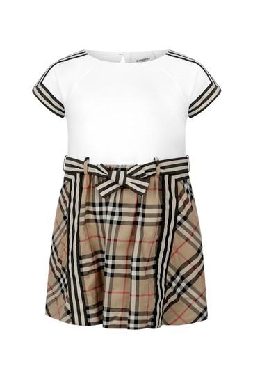 Girls Beige Check Cotton Dress
