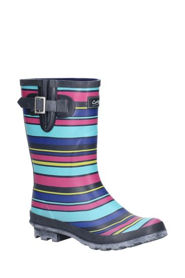 Cotswold Blue Paxford Elasticated Mid Calf Wellington Boots