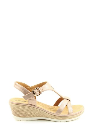Heavenly Feet Coral Ladies Rose Gold Sandals