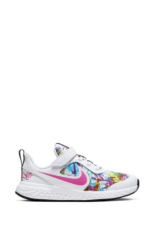 Nike White/Metallic Revolution 5 Fable Pack Junior Trainers