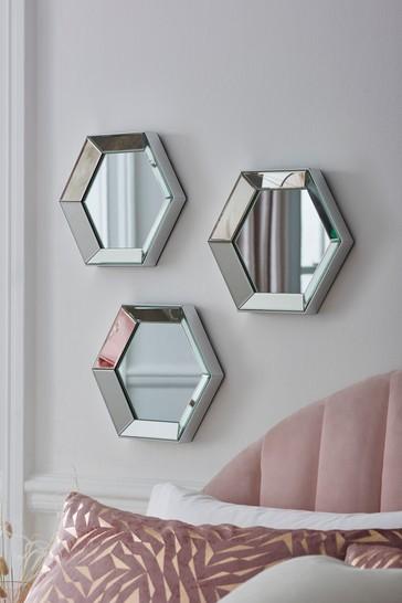 Set of 3 Hexagon Mirrors