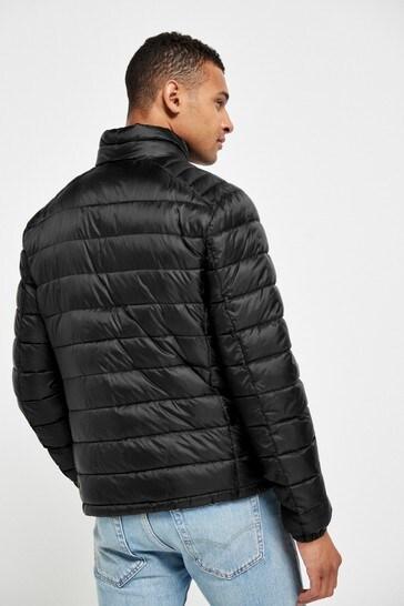 Black Shower Resistant Funnel Neck Puffer Jacket With DuPont Sorona® Insulation