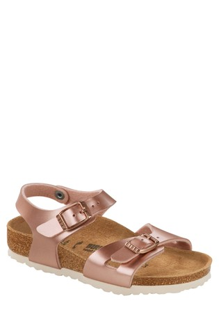 Birkenstock® Rose Gold Metallic Sandals
