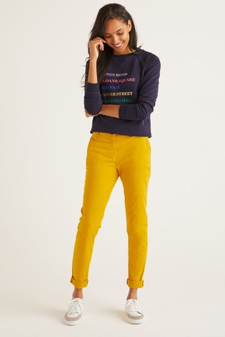 Boden Yellow Daisy Chino Trousers