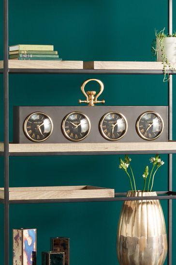 Antique Brass Matt Black Metal Oblong Desk Clock by Pacific