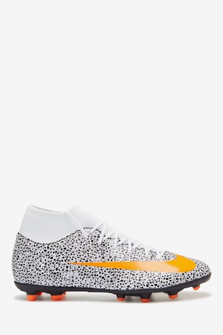 Nike White/Orange CR7 Superfly 7 Club Multi Ground Football Boots