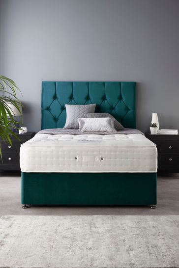 Catherine Lansfield Boutique Divan Set With Natural Wool 2000 Mattress Emerald