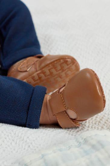 Tan Leather T-Bar Pram Shoes (0-24mths)