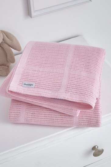 2 Pack Safe Nights Cotton Traditional Cellular Blankets by Silentnight