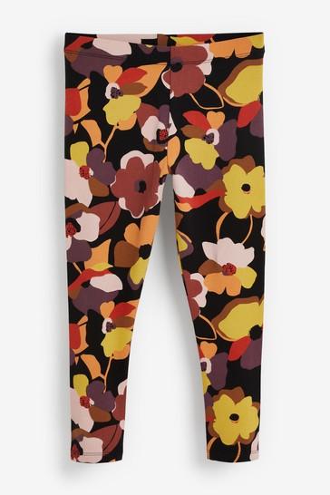 Black Floral Print Leggings (3-16yrs)