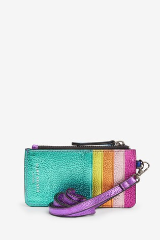 Kurt Geiger London Pink Leather Card Holder With Strap