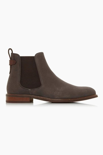 Dune London Character Grey Suede Chelsea Boots