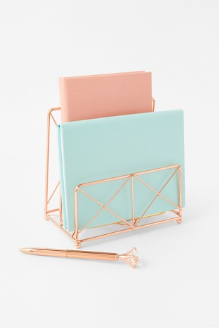 Accessorize Gold Metal Wire Letter Holder