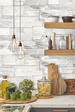 Superfresco Easy Shiplap Wood Cream Wallpaper by Art For The Home