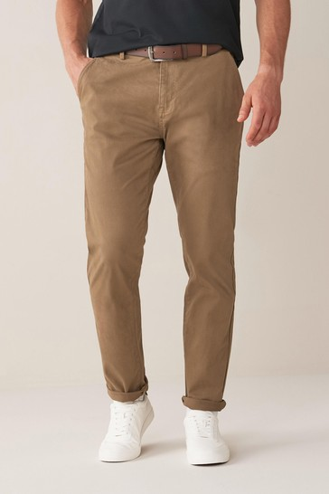 Stone Slim Fit Belted Soft Touch Chino Trousers