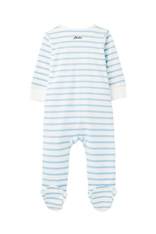 Joules White Zippy Stripe Babygrow