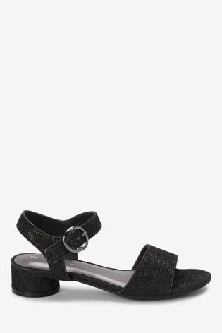 Black Glitter Heel Sandals (Older)