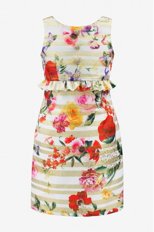 David Charles Gold Stripe Brocade Floral Party Dress