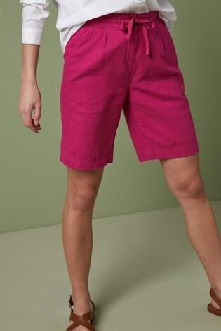 Bright Pink Linen Blend Knee Shorts