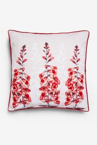 Foxglove Beaded Floral Cushion
