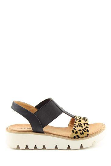 Heavenly Feet Ritz Ladies Black Leopard Sandals