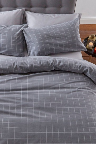Brushed Cotton Check Duvet Cover and Pillowcase Set by Silentnight
