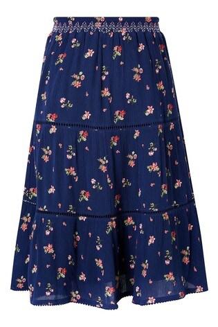 Monsoon Navy Maida Ditsy Midi Skirt