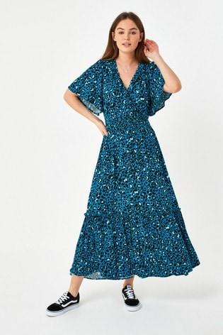 Blue Animal Ruffle Wrap Dress