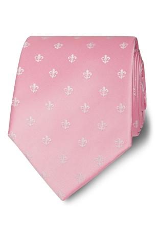 T.M. Lewin Wide Pink/White Fleur De Lys Silk Tie
