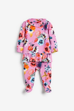 Lilac Smart Floral Frill Sleepsuit (0mths-2yrs)