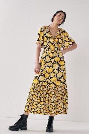 Ochre Floral Ruffle Wrap Dress