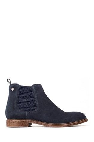 Base London® Blue Flint Suede Pull-On Chelsea Boots