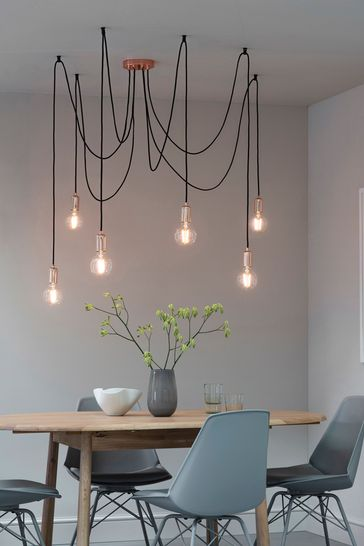 Industrial Copper 6 Cluster Pendant Light by Gallery Direct