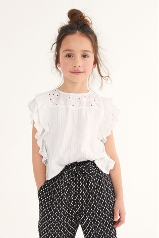 Oasis Broderie Ruffle Blouse