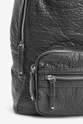 Black Leather Look Rucksack