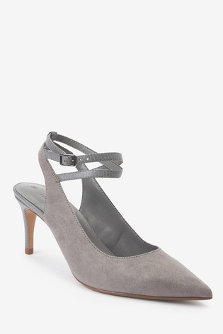 Grey Ankle Strap Slingbacks