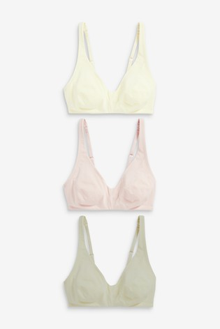 Pink/Sage/Cream Daisy Non Pad Non Wire Cotton Rich Bralettes Three Pack
