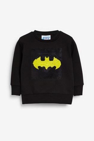 Black Batman® Superman Flippy Sequin Crew Neck Top (9mths-8yrs)